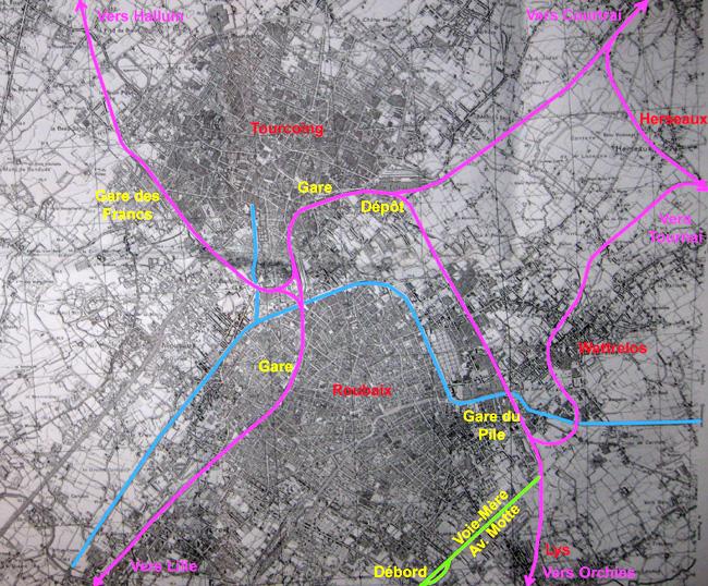 Les voies desservant Roubaix - D'après une carte IGN de 1939