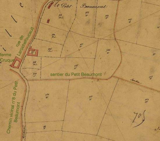 Le site en 1845