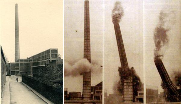 Vie et mort de la cheminée de l'usine d'incinération Photo Archives Municipales de Roubaix et Nord Éclair