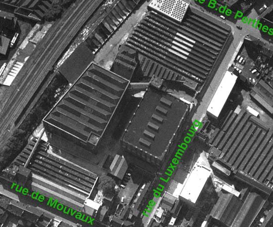 Les anciens établissements Cordonnier en 1962. Document IGN