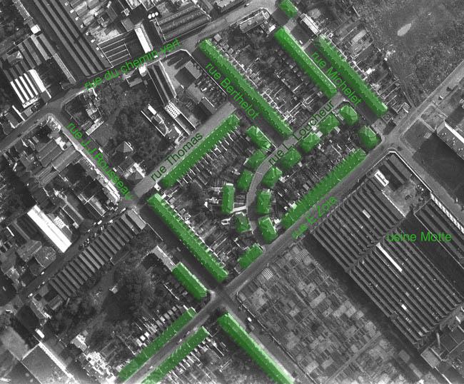 L'ensemble du lotissement – photo IGN 1962