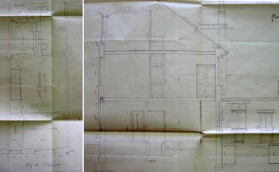 Plan et coupe d'une maison de type E à deux étages.