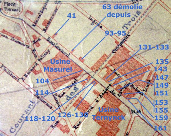 Le boulevard en 1899 et la numérotation actuelle