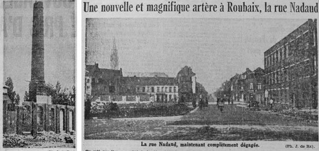 La cheminée et la rue Nadaud. Documents Journal de Roubaix 1942