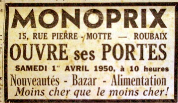 L'ouverture de Monoprix en 1950 Pub NE