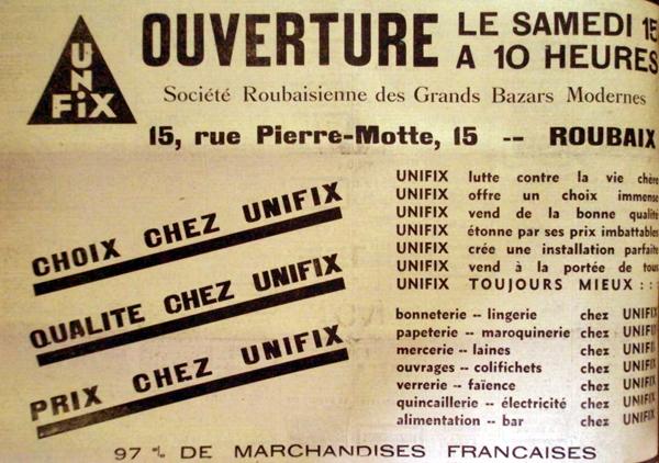L'ouverture d'Unifix Pub Journal de Roubaix 1934