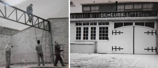 La construction en 1962 et l'atelier terminé