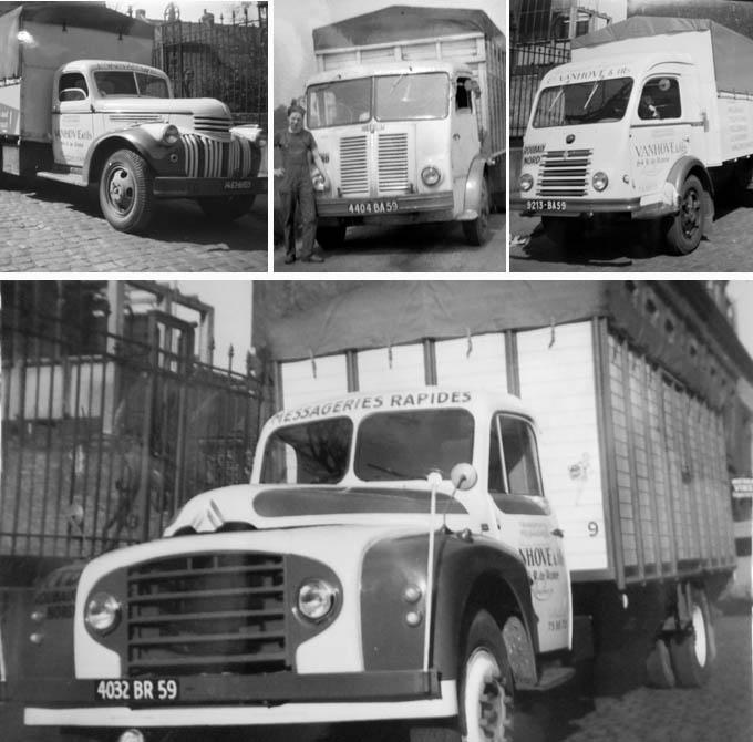 Camions Chevrolet, Berliet, Renault et Citroën aux couleurs de l'entreprise