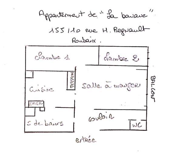 Le croquis de l'appartement par Isabelle