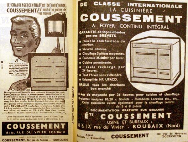Publicités Cousement 1958/1959 in NE