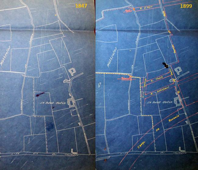 Plans 1847 et 1899 du quartier du Hutin doc AmRx