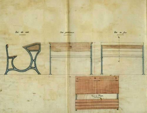 Pupitre de l'école Archimède – document médiathèque de Roubaix