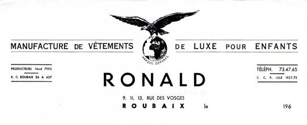 La société de confection Ronald Collection Particulière