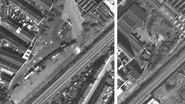 La gare de débord et l'embranchement des mines d'Ostricourt – Photos IGN 1962