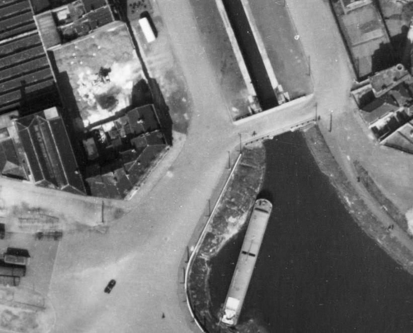 Les maisons à démolir - Photo archives municipales - 1953