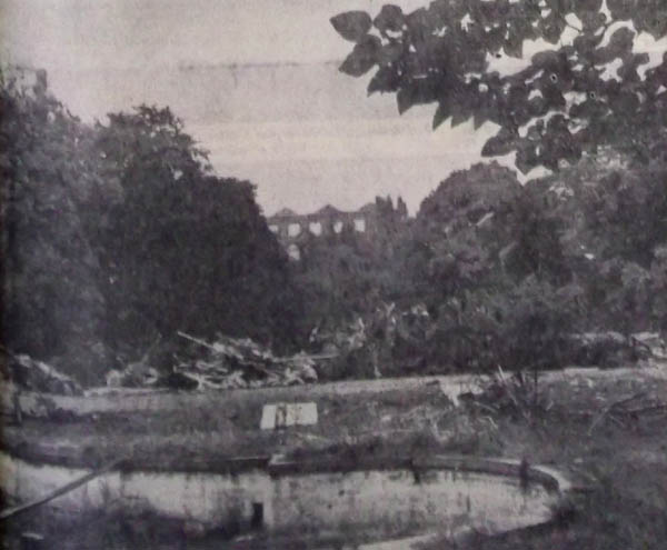 Photo Nord Éclair. Au premier plan le bassin, au fond les restes de l'hôtel particulier