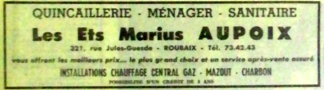 Magasin Aupoix au n°321 Pub NE