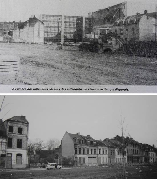 Les rues de Vaucanson (photo la Voix du Nord) et Notre-Dame à l'époque.
