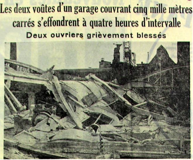 L'effondrement des hangars du dépôt de l'Union mai 1956 Photo NE