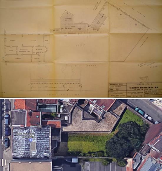 Document 1972 Archives Municipales et Google Maps