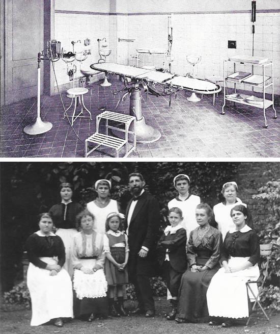La salle d'opération moderne ( coll privée )-Le docteur Descarpentries entouré de ses deux enfants, et du personnel de la clinique 1916 ( coll M. Samsoen )